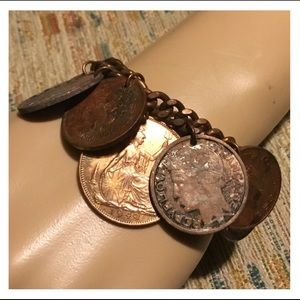 Vintage 1944 to 1955 Coins Copper Chain Bracelet